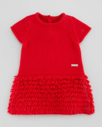 Armani Junior Ruffle-Fringe Knit Dress, Red, 3-24 Months