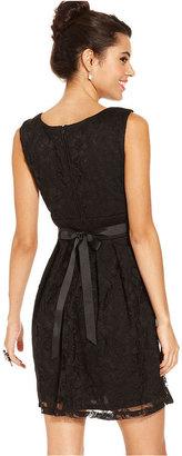Amy Byer Juniors Dress, Sleeveless Lace A-Line