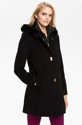 Ellen Tracy Turnkey Coat with Fur Trim Hood (Online Exclusive)
