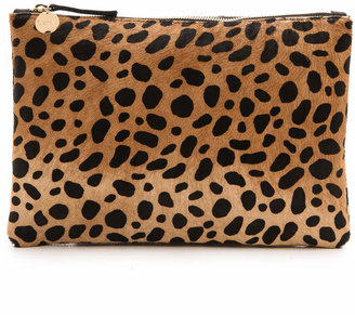 Clare V. Leopard Flat Haircalf Clutch $245 thestylecure.com