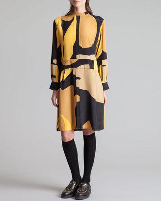 Marni Printed Mandarin Collar Dress, Gold Sand