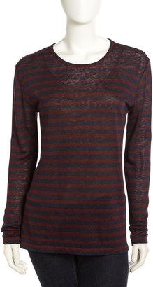 Alexander Wang Linen/Silk Striped Long-Sleeve Tee