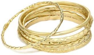 "TAT2 Designs ""Antiquities"" Set of 6 Gold Textured Bangles Bracelet"