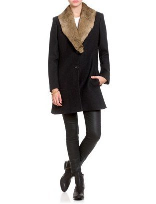 Derek Lam Charcoal Fur Collared Riding Coat