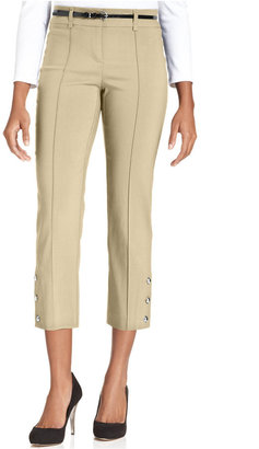 Style&Co. Belted Button-Hem Capri Pants