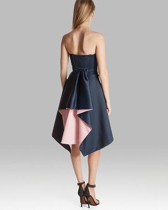 Halston Dress - Strapless Back Fold Color Block