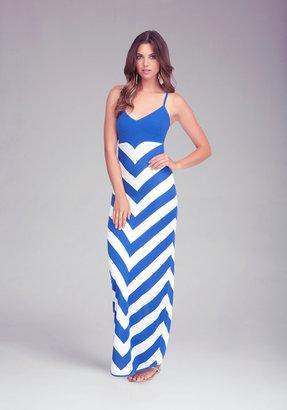 Bebe Chevron Stripe Maxi Dress