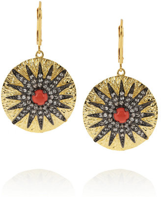 Kenneth Jay Lane Gold-plated, cubic zirconia and cabochon earrings
