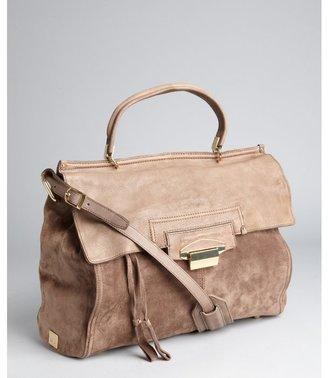 Kooba taupe suede 'Aiden' top handle satchel