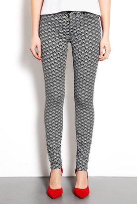 Hudson Diamond Black Art-deco Print Nico Skinny Jeans
