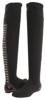 Donald J Pliner Lisa for Fabian (Graphite/Graphite Crepe Elastic Fabric) - Footwear