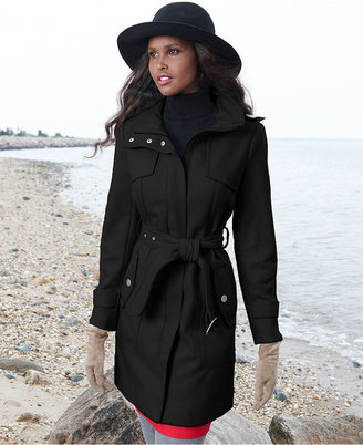 Kenneth Cole Reaction Coat, Wool-Blend Zip Trench Coat