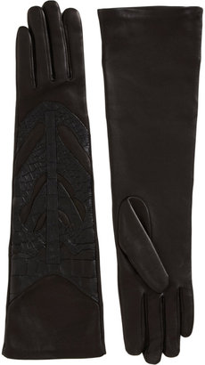 Givenchy Crocodile Embossed Leather Gloves