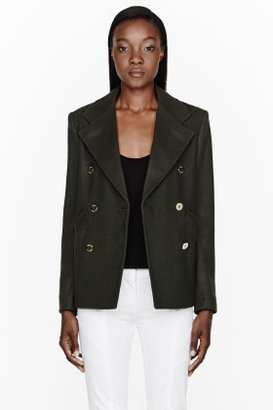 Balmain PIERRE Olive green double-breasted Peacoat