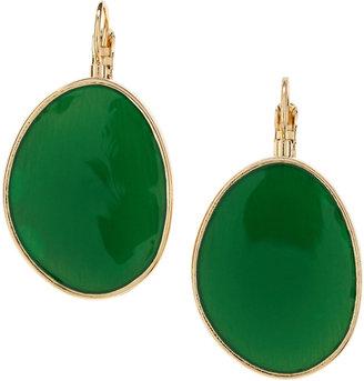 Kenneth Jay Lane Flat Oval Hanging Earrings, Green
