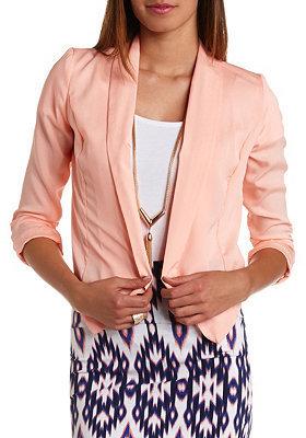 Charlotte Russe Silky Asymmetrical Cropped Blazer