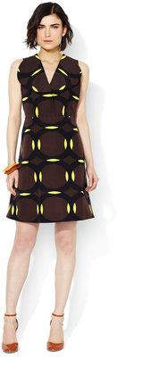 Marni Cotton Spread Collar Printed Dress