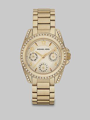 Michael Kors Crystal Stainless Steel Multi-Function Watch