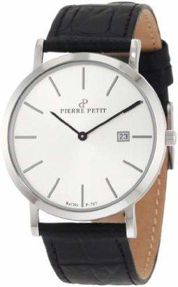 Pierre Petit Men's P-787B Serie Nizza Silver Dial Genuine Leather Date Watch