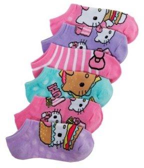 Hello Kitty 6-Pack No-Show Socks, Little Girls & Big Girls