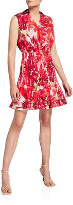 Nora Brushstroke Floral Poplin Sleeveless Dress