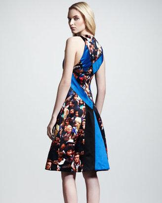 Proenza Schouler Protest-Print Silk Flare Dress