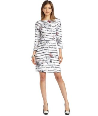 Marchesa Voyage white woven stripied floral 3/4 sleeve sheath dress