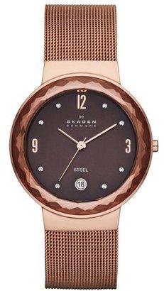 Skagen 'Leonora' Faceted Glass Bezel Watch, 34mm
