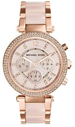 Women's Michael Kors 'Parker' Blush Acetate Link Chronograph Watch, 39Mm $295 thestylecure.com