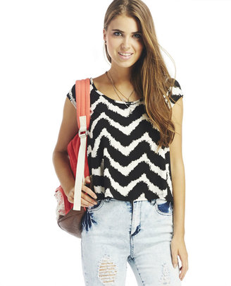 Wet Seal Lace Back Chevron Tee