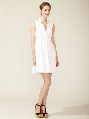 Magaschoni Cotton Drawstring Shirt Dress