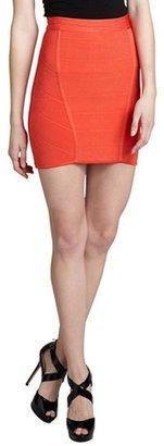 S.y.l.k tangerine banded ribbed knit 'Stella Rose' mini skirt