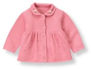 Janie and Jack Hand-Embroidered Pointelle Cardigan