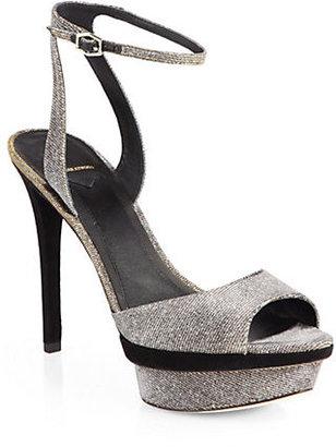 Brian Atwood Femme Fatale Glitter Lamé Platform Sandals