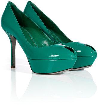 Sergio Rossi Emerald Patent Leather Platform Peep-Toes