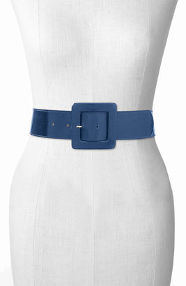 Leather Rock Square Buckle Patent Leather Belt