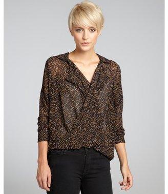 Romeo & Juliet Couture black orange dot chiffon twist blouse
