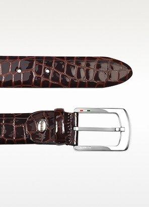 Manieri Men's Brown Croco Stamped Patent Leather Belt