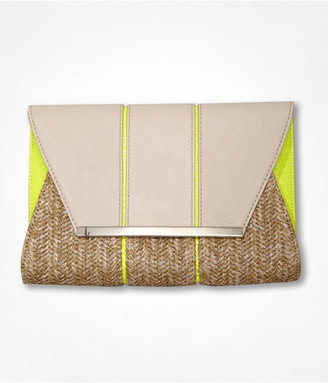 Express Neon Piped Fold-Over Clutch