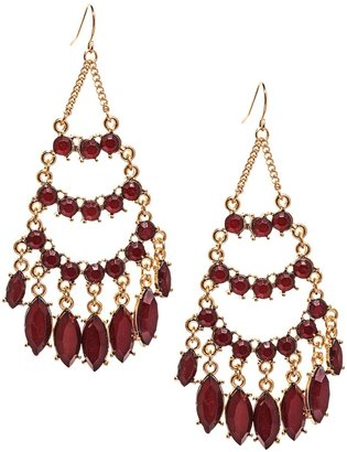 Cara Accessories Chandelier Faceted Glass Earrings
