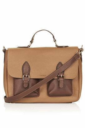 Topshop Saffiano colour-block satchel