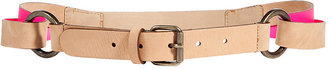 See by Chloe Camel and Neon Pink Leather Belt