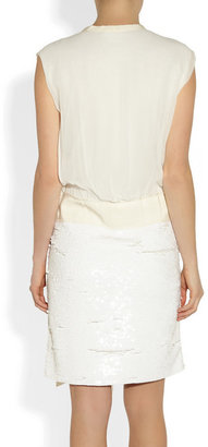 Lanvin Sequined jersey and chiffon dress
