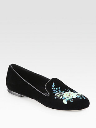 Christopher Kane Bouquet Embroidered Velvet Smoking Slippers