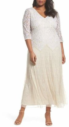 Pisarro Nights Beaded V-Neck Lace Illusion Gown