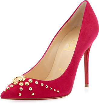 Christian Louboutin Door Knock Studded Red-Sole Pump, Cyclamen/Gold