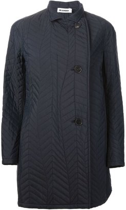 Jil Sander herringbone chevron quilted coat