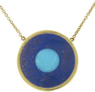 Jennifer Meyer Lapis Inlay and Turquoise Center Evil Eye Pendant Necklace - Yellow Gold