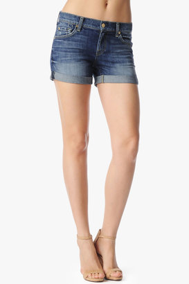 7 For All Mankind Relaxed Mini Roll Up Short In Authentic Bright Blue