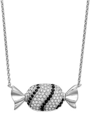Simone I. Smith Platinum Over Sterling Silver Necklace, Black and White Crystal Candy Pendant